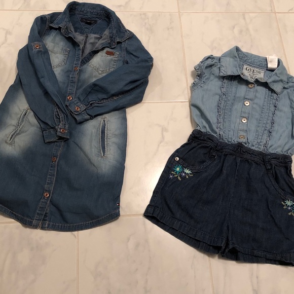 Girls denim dress and shorts jumpsuit.